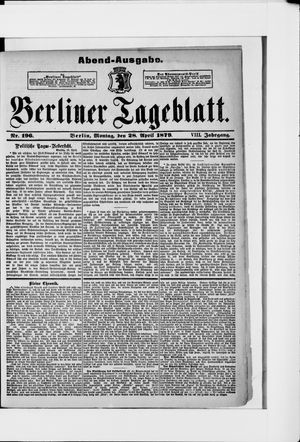 Berliner Tageblatt und Handels-Zeitung vom 28.04.1879