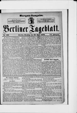 Berliner Tageblatt und Handels-Zeitung vom 29.04.1879