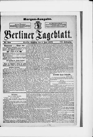 Berliner Tageblatt und Handels-Zeitung vom 01.06.1879
