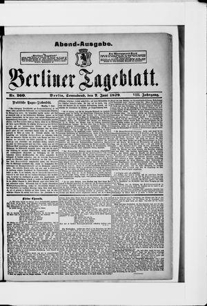 Berliner Tageblatt und Handels-Zeitung vom 07.06.1879