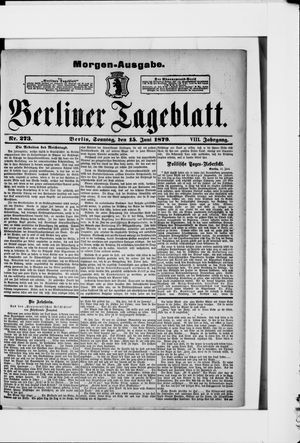 Berliner Tageblatt und Handels-Zeitung on Jun 15, 1879