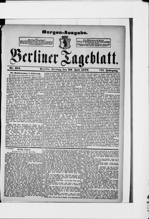 Berliner Tageblatt und Handels-Zeitung vom 20.06.1879