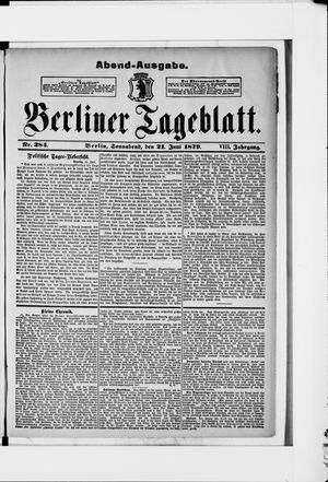 Berliner Tageblatt und Handels-Zeitung on Jun 21, 1879