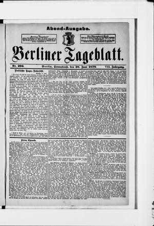 Berliner Tageblatt und Handels-Zeitung vom 28.06.1879