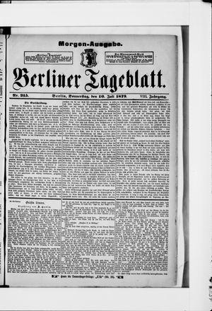Berliner Tageblatt und Handels-Zeitung vom 10.07.1879