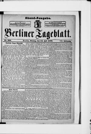 Berliner Tageblatt und Handels-Zeitung vom 14.07.1879