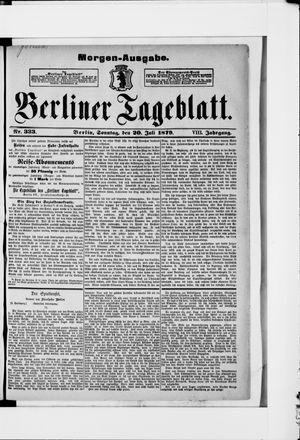 Berliner Tageblatt und Handels-Zeitung vom 20.07.1879