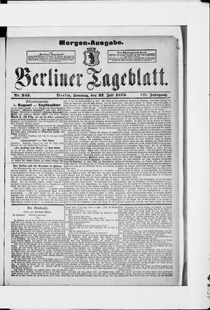 Berliner Tageblatt und Handels-Zeitung vom 27.07.1879