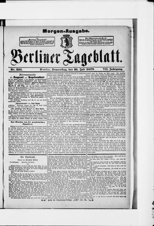 Berliner Tageblatt und Handels-Zeitung vom 31.07.1879