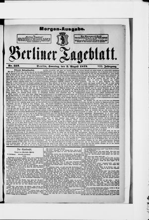Berliner Tageblatt und Handels-Zeitung vom 03.08.1879