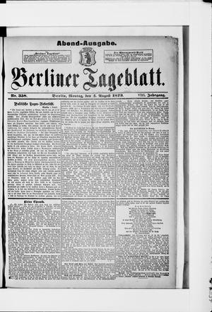 Berliner Tageblatt und Handels-Zeitung vom 04.08.1879