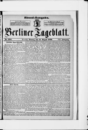 Berliner Tageblatt und Handels-Zeitung vom 11.08.1879