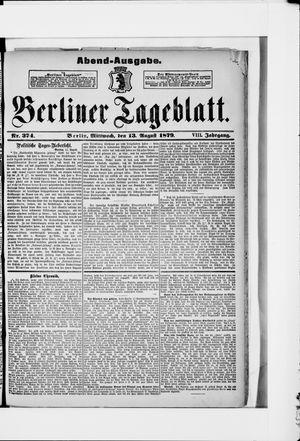 Berliner Tageblatt und Handels-Zeitung vom 13.08.1879