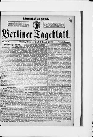 Berliner Tageblatt und Handels-Zeitung vom 20.08.1879