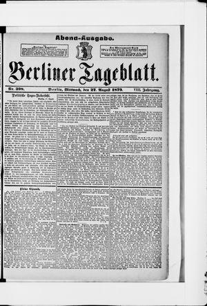 Berliner Tageblatt und Handels-Zeitung vom 27.08.1879