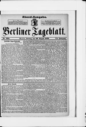 Berliner Tageblatt und Handels-Zeitung vom 29.08.1879