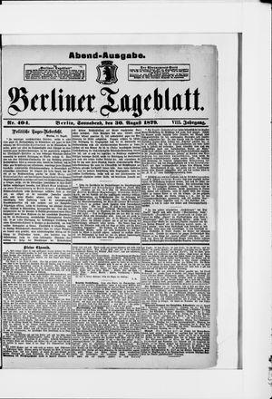 Berliner Tageblatt und Handels-Zeitung vom 30.08.1879