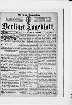 Berliner Tageblatt und Handels-Zeitung vom 31.08.1879