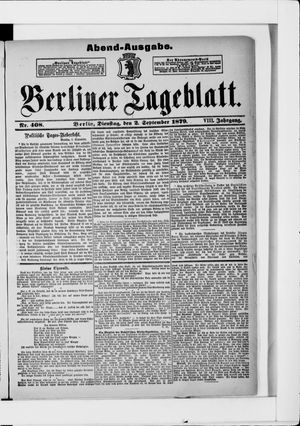 Berliner Tageblatt und Handels-Zeitung vom 02.09.1879
