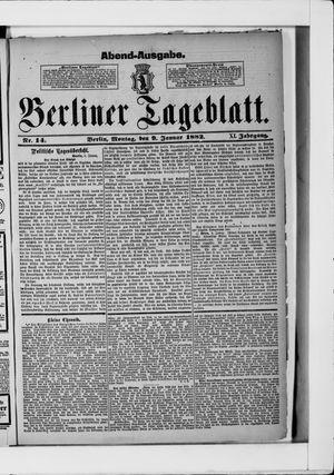 Berliner Tageblatt und Handels-Zeitung vom 09.01.1882