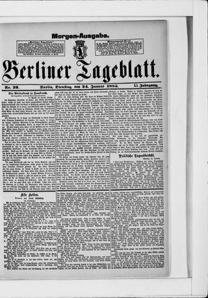 Berliner Tageblatt und Handels-Zeitung vom 24.01.1882