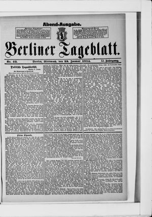 Berliner Tageblatt und Handels-Zeitung on Jan 25, 1882
