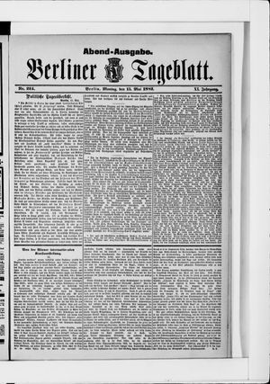 Berliner Tageblatt und Handels-Zeitung vom 15.05.1882
