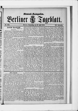 Berliner Tageblatt und Handels-Zeitung vom 27.07.1882