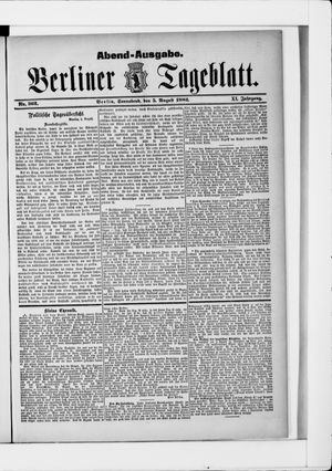 Berliner Tageblatt und Handels-Zeitung vom 05.08.1882