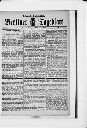Berliner Tageblatt und Handels-Zeitung vom 12.02.1883