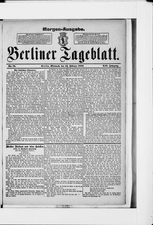 Berliner Tageblatt und Handels-Zeitung vom 14.02.1883