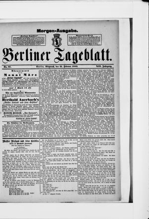 Berliner Tageblatt und Handels-Zeitung vom 21.02.1883