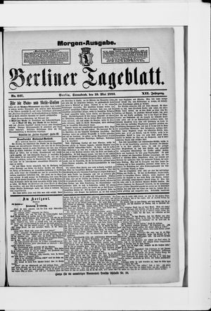 Berliner Tageblatt und Handels-Zeitung vom 19.05.1883
