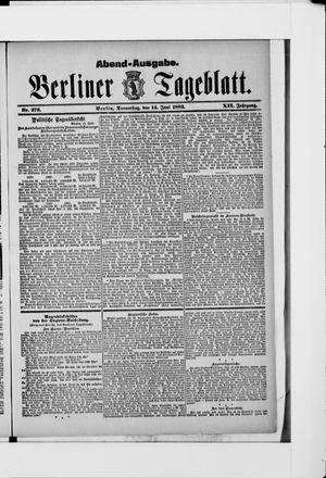 Berliner Tageblatt und Handels-Zeitung vom 14.06.1883
