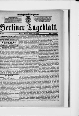 Berliner Tageblatt und Handels-Zeitung on Jul 31, 1883