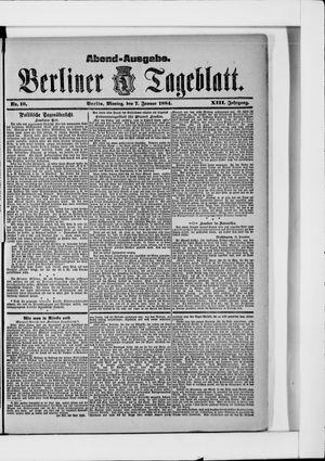 Berliner Tageblatt und Handels-Zeitung vom 07.01.1884