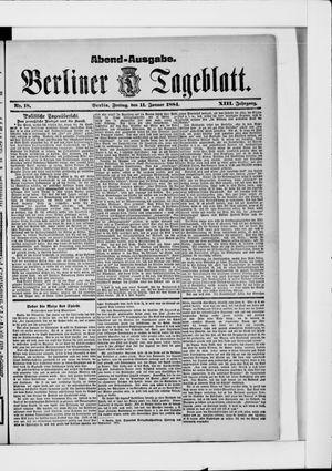 Berliner Tageblatt und Handels-Zeitung vom 11.01.1884