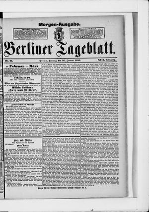 Berliner Tageblatt und Handels-Zeitung vom 20.01.1884