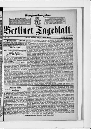 Berliner Tageblatt und Handels-Zeitung vom 27.01.1884