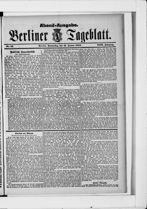 Berliner Tageblatt und Handels-Zeitung vom 31.01.1884