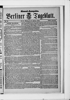 Berliner Tageblatt und Handels-Zeitung vom 11.02.1884