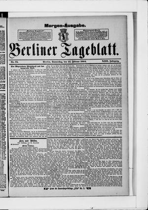 Berliner Tageblatt und Handels-Zeitung vom 14.02.1884