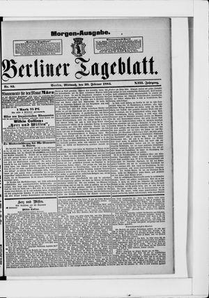 Berliner Tageblatt und Handels-Zeitung on Feb 20, 1884