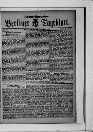 Berliner Tageblatt und Handels-Zeitung vom 27.02.1884