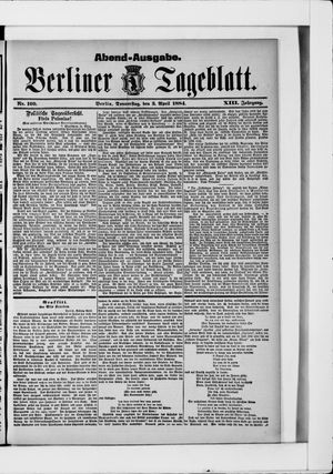 Berliner Tageblatt und Handels-Zeitung vom 03.04.1884