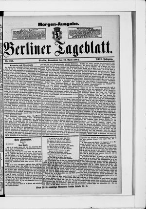 Berliner Tageblatt und Handels-Zeitung vom 19.04.1884
