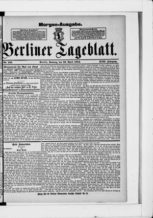 Berliner Tageblatt und Handels-Zeitung vom 20.04.1884