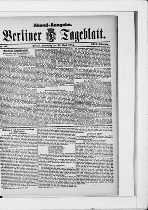 Berliner Tageblatt und Handels-Zeitung vom 24.04.1884