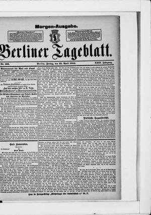 Berliner Tageblatt und Handels-Zeitung vom 25.04.1884