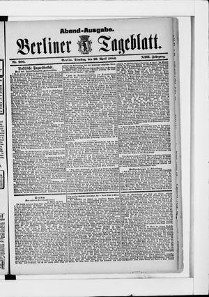 Berliner Tageblatt und Handels-Zeitung vom 29.04.1884